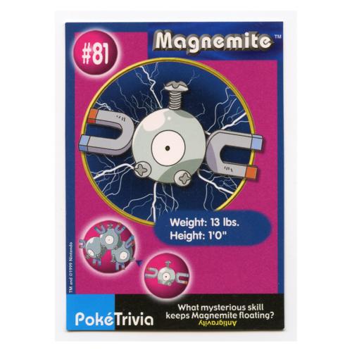 Magnemite 81 Burger King Pokemon Card