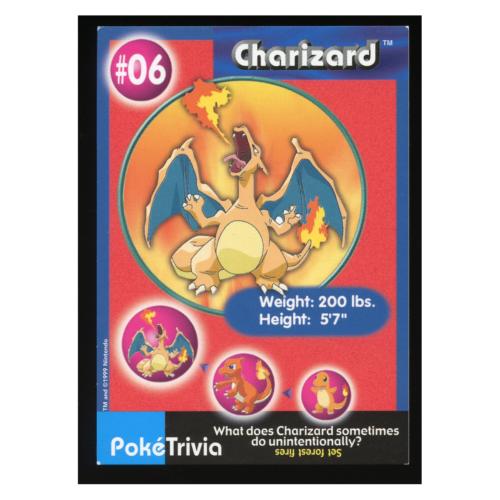 Charizard 6 Burger King Pokemon Card