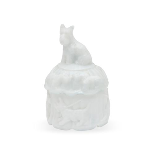 Scottie Dog Milk Glass Puff Jar