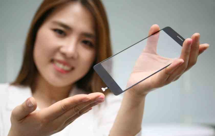 LG umísti skener otisků prstů pod ochranné sklíčko nad LCD displej