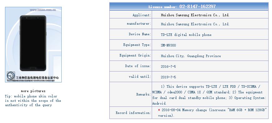 Dual SIM Galaxy Note 7 v Číně 6GB?