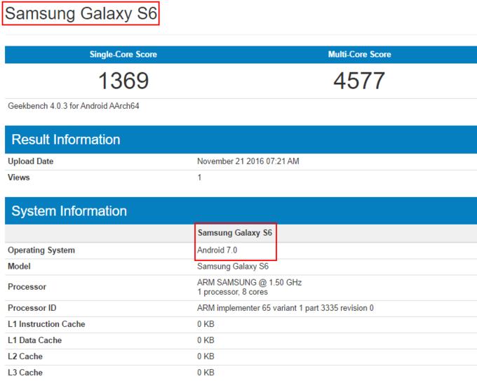 Samsung Galaxy S6 na Android 7