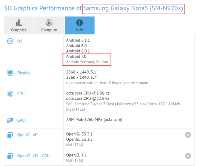 GFXBench test Note 7 s Android 7