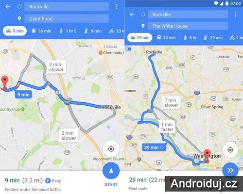 Ukázka mapy s parkovacími místy Google Mapy