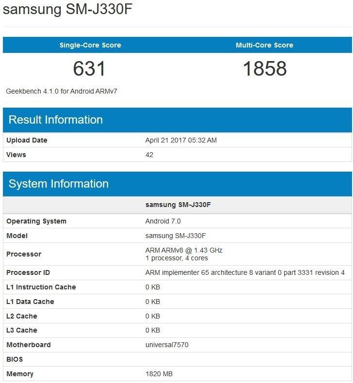 Geekbench Samsung J3 (2017)