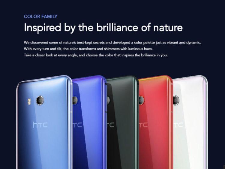 HTC U11 v 5 barevných variantách