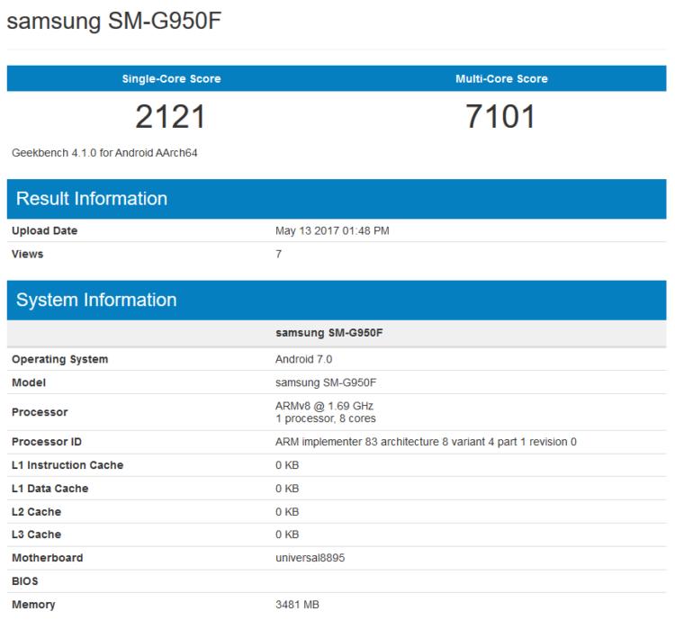 Samsung Galaxy S8 Exynos 8895