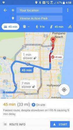 Google Maps právě teď ukazují průměrný čas na místo určení