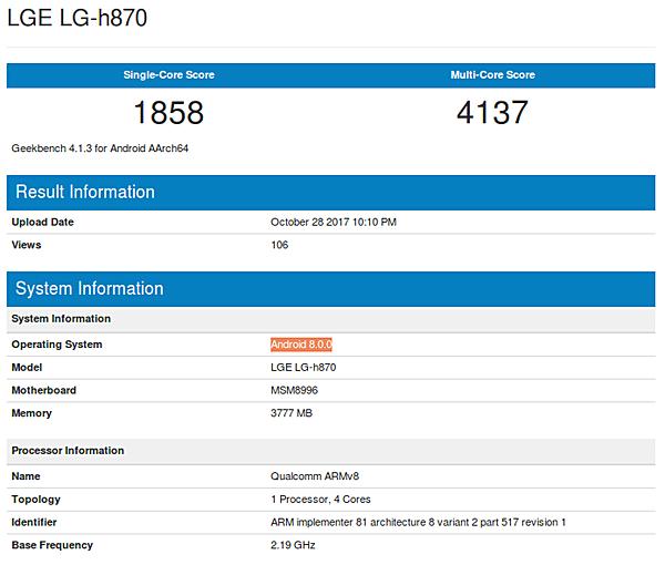 LG G6 na systému Android Oreo