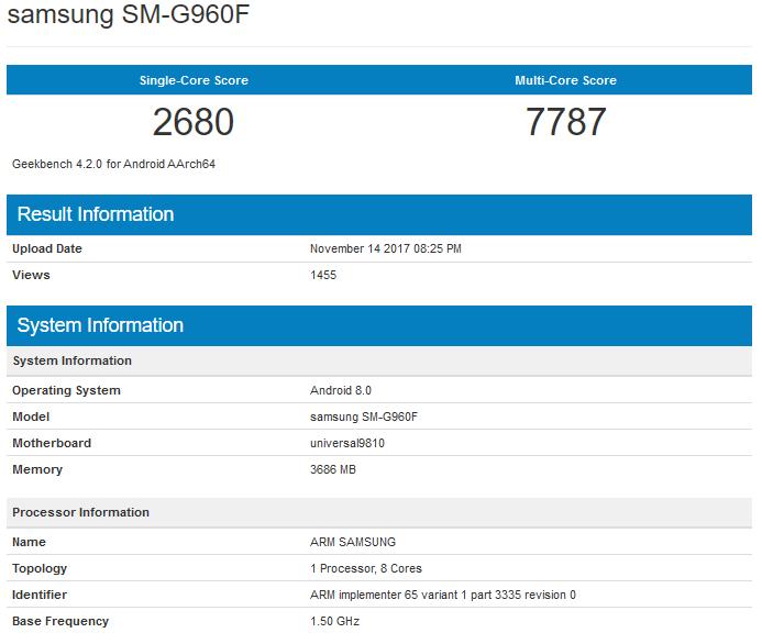 Galaxy S9 má menší skóre než iPhone X. Zdroj: Geekbench