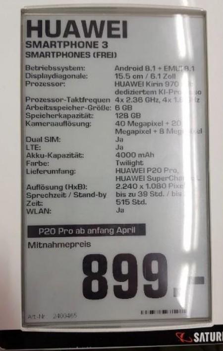 Huawei P20 a P20 Pro s veškerými specifikacemi
