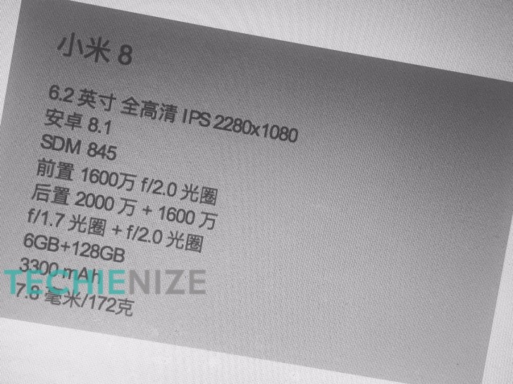 Xiaomi Mi 8 se specifikacemi, kde figuruje 6.2 palcový displej