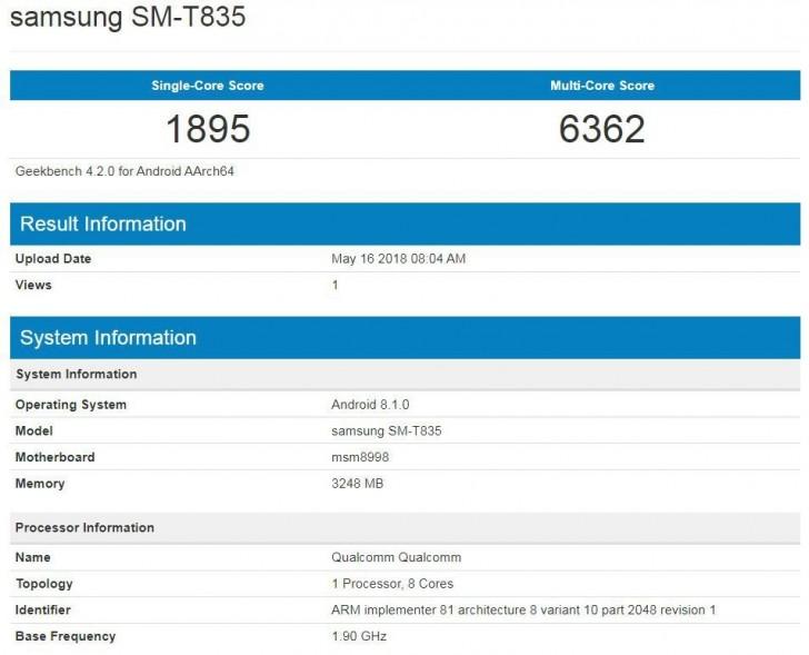 Samsung Galaxy Tab S4 na Geekbench