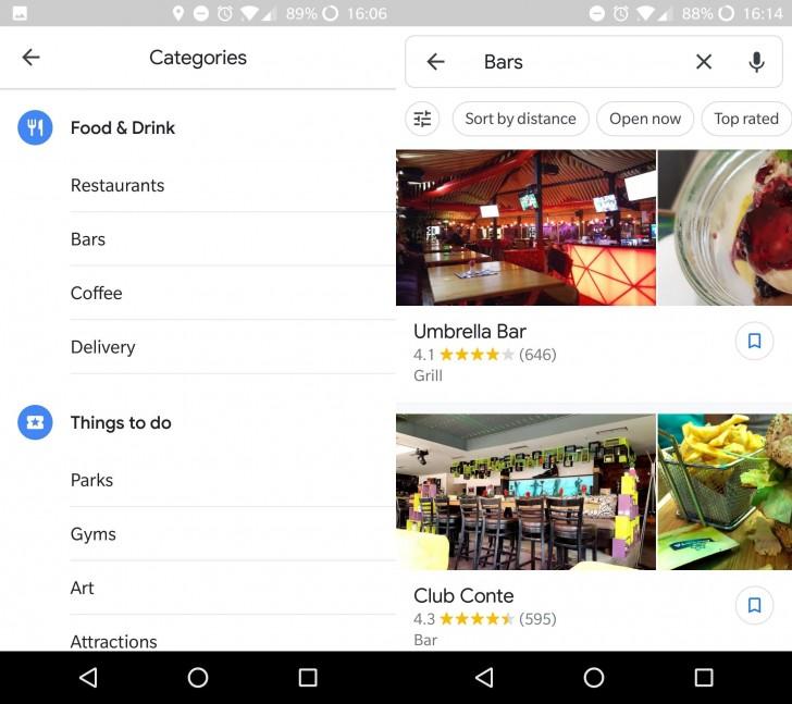 Material Design Google Mapy - místa a aktivity
