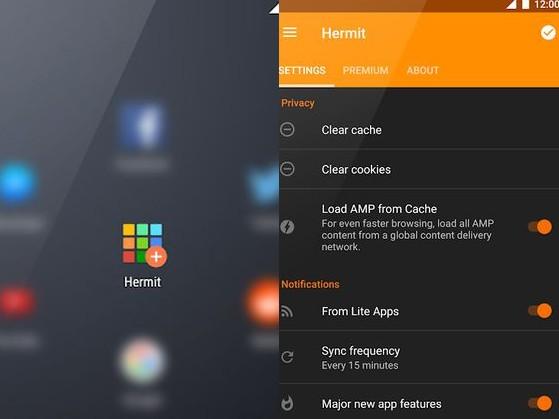 Aplikace Hermit - Lite apps browser