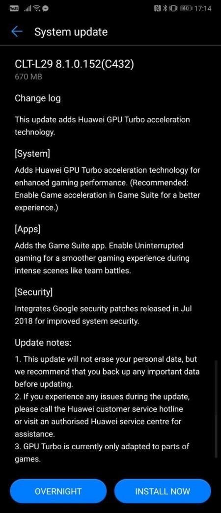 GPU Turbo Huawei P20 Pro