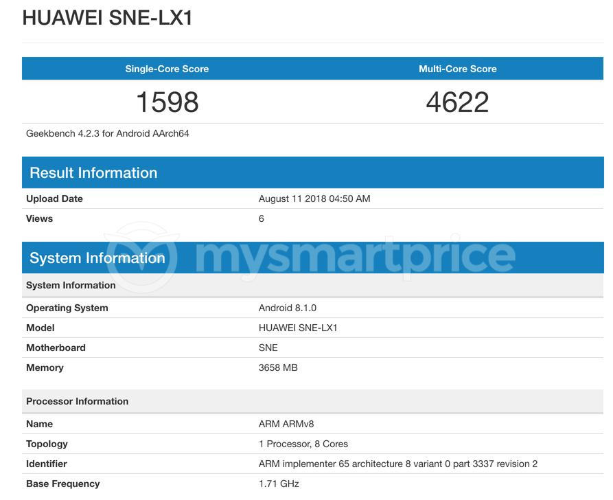 Geekbench test Huawei Mate 20 Lite
