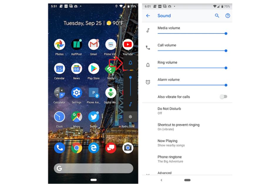 Android 9 - vyzváněcí tón