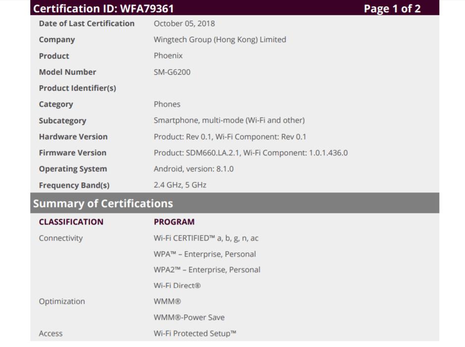 Samsung Galaxy A6s Wifi certifikace