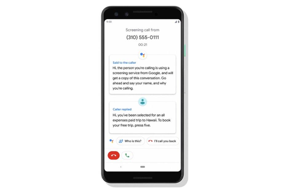 Hovor s Google Asistentem a přepis rozhovoru s neznámým číslem.