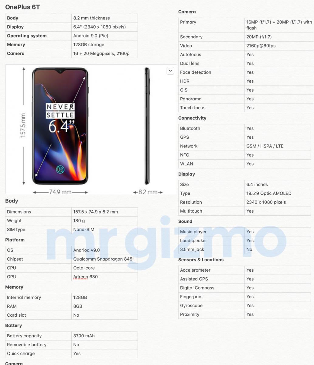 OnePlus 6T - specifikace