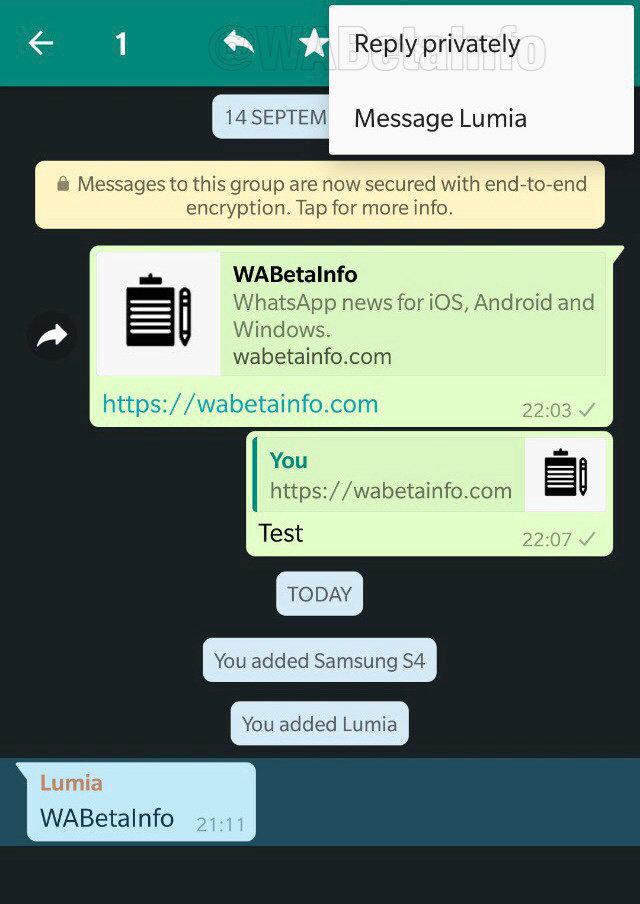Odpovědět soukromě v aplikaci WhatsApp