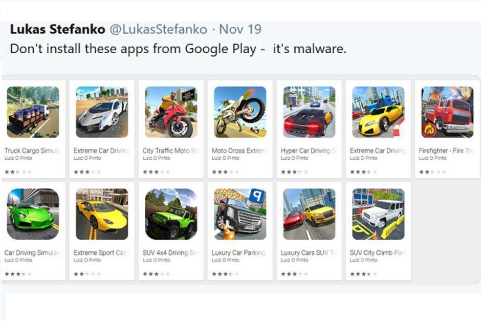 Google odstranil 13 nakažených her