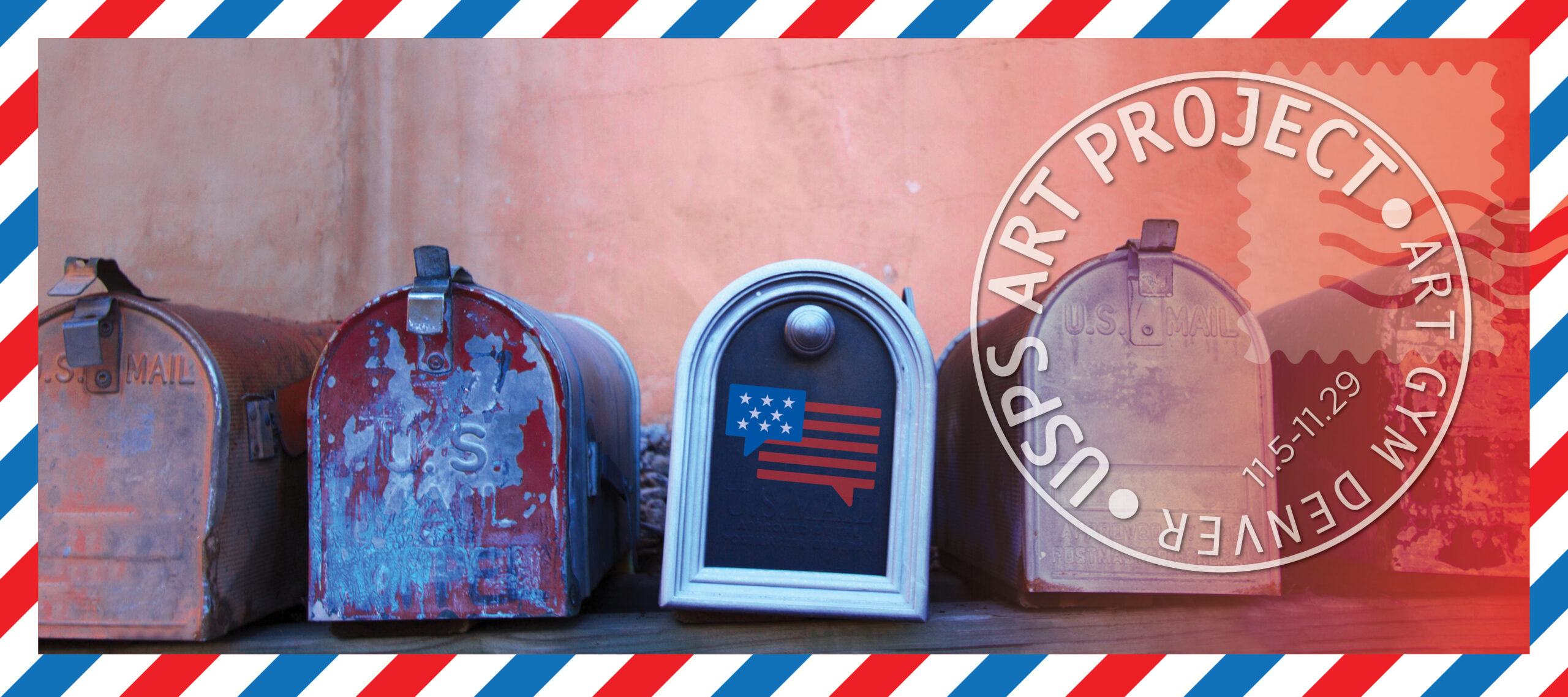 USPS Art Project graphic with mailboxes and stamp design