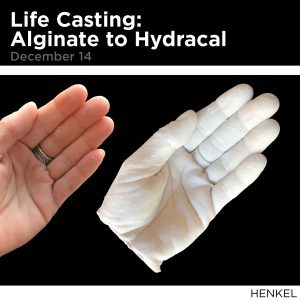 Life Casting: Alginate to Hydracal, December 14, Image of hand cast in plaster