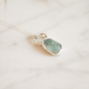 Amanda Pehrson - Aqua Fluorite Moissanite Art Deco Necklace
