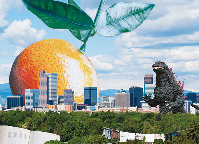 Unseen by K. Vuletich, Collage image featuring Denver's skyline, a giant orange in the sky, Godzilla and a clothesline.