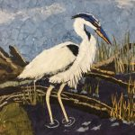 Heron in Reeds by Judith Bergquist. Artwork from Wax Paper, Mixed Media and Encaustic Art exhibition.