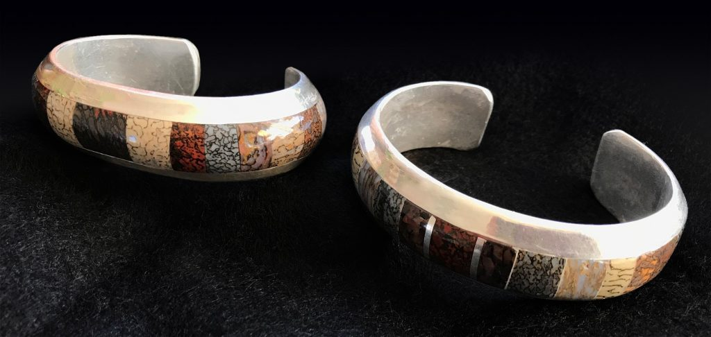 Two stone Inlay bracelets by Kim Henkel