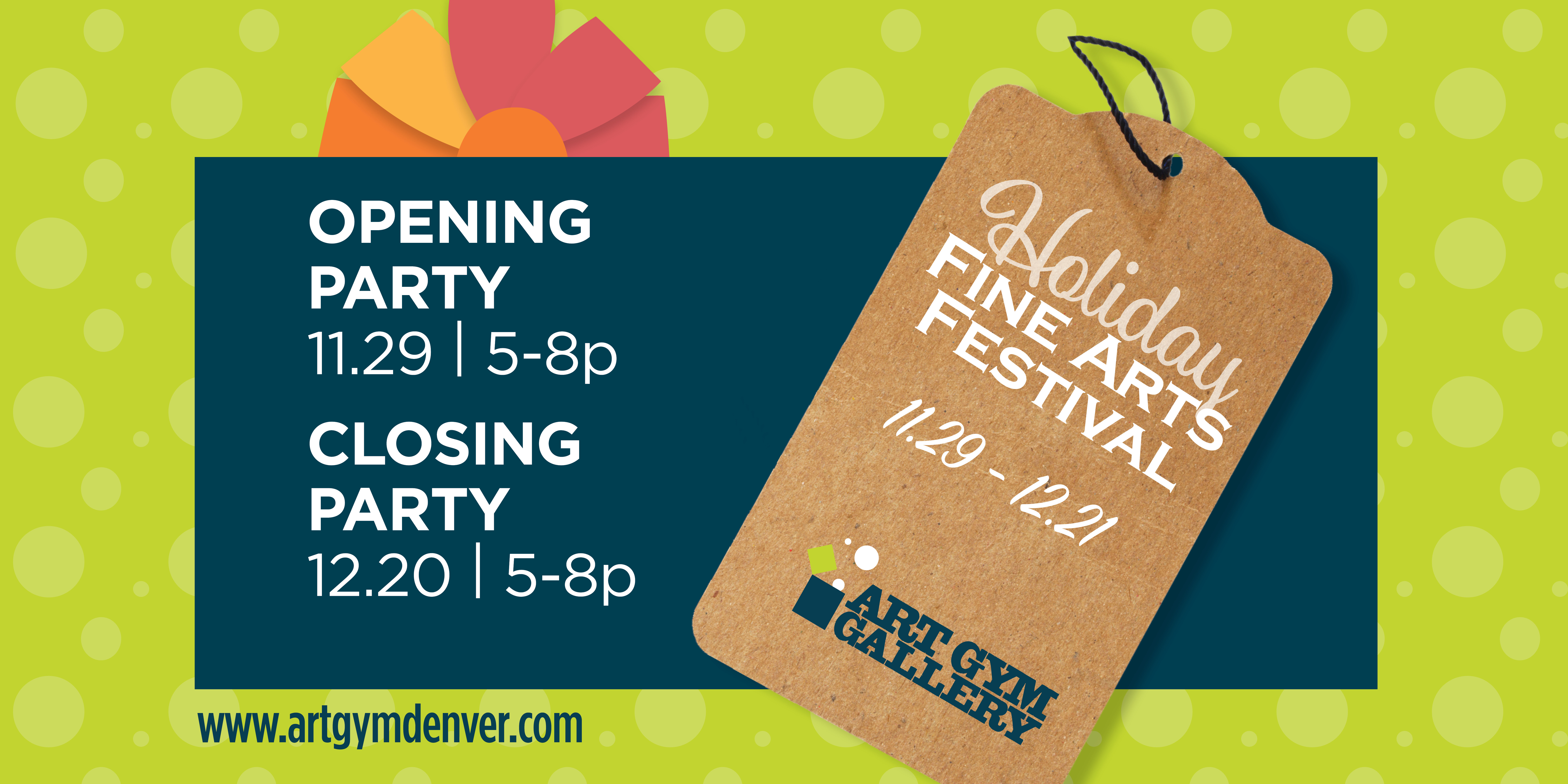 Holiday Fine Arts Festival November 29th thru December 21st. Opening party November 29th from 5 to 8pm. Closing party December 20th from 5 to 8pm