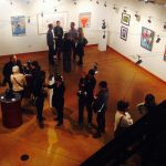 Aerial view of gallery opening for Why Art Gym exhibition