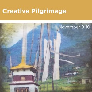 Creative Pilgrimage, November 9 through 10, yellow roofed building with flags waving behind