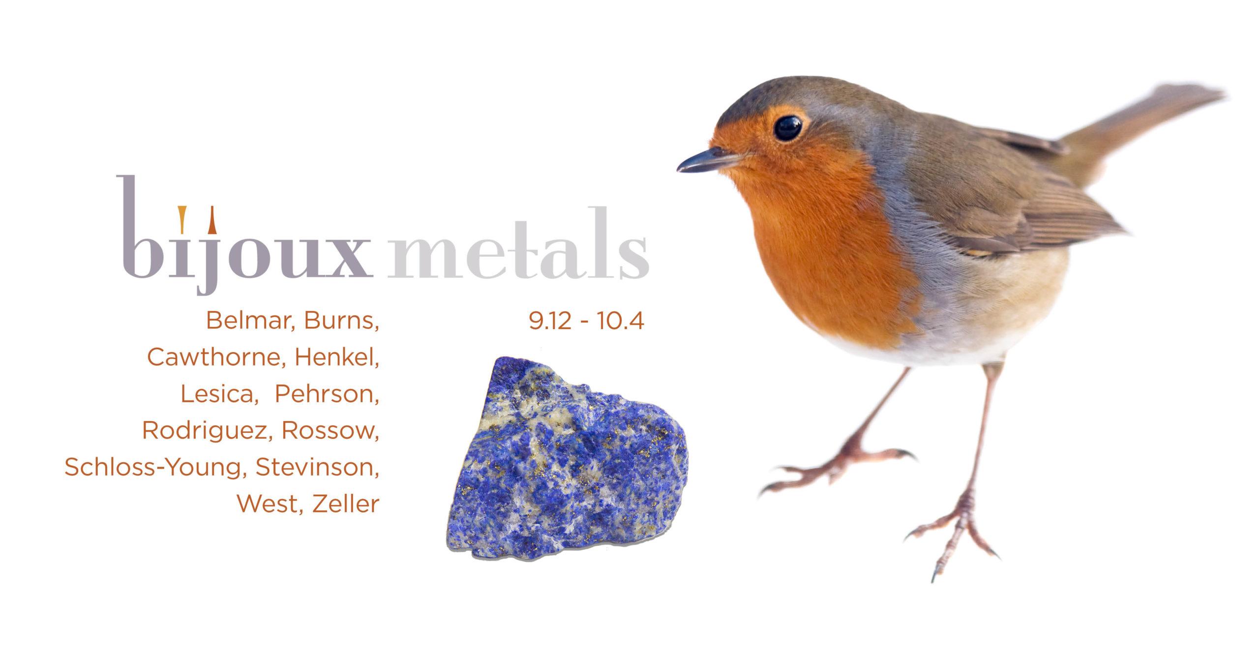 Gallery graphic for Bijoux Metals, September 12 through October 4.