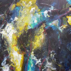 """Hosanna Deseno, """"The Host"""" Acrylic on Canvas, 48"""" x 60"""""""