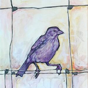 """Amy Marsh, """"Bird on a Wire"""" Acrylic on Canvas, 36"""" x 48"""""""
