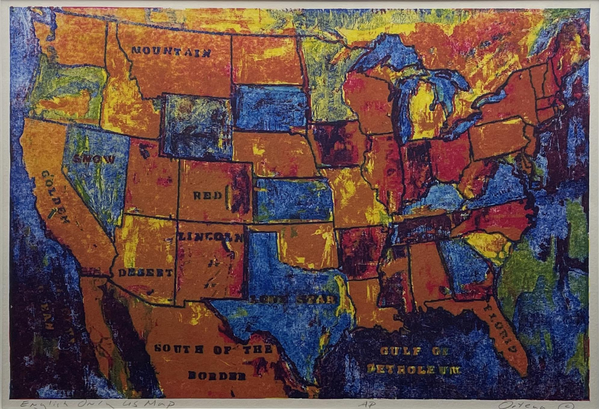 "Tony Ortega, ""English Only U.S. Map"", Lithograph, 10"" x 15"""