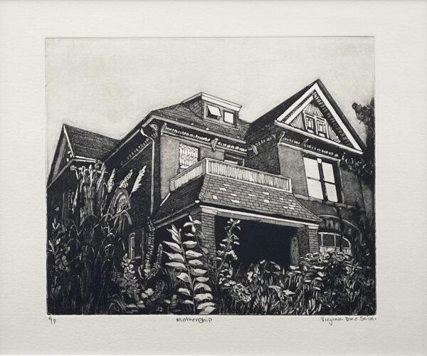 "Virginia Diaz Saiki, ""Mothership"", Copper Plate Etching, 18"" x 16"""