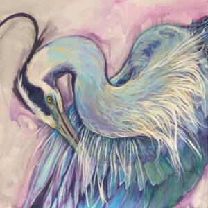 """Amy Marsh, """"Heron I"""" Acrylic on Canvas, 20"""" x 20"""""""
