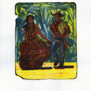 "Tony Ortega, ""Una Pareja Folklorica, white"" Stone Lithography and Screenprint"