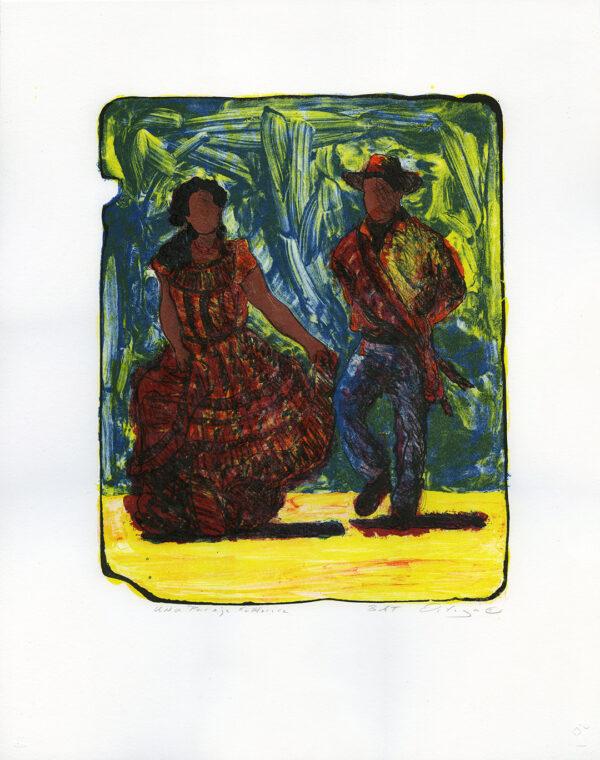 "Tony Ortega, ""Una Pareja Folklorica, white"" Stone Lithography and Screenprint"