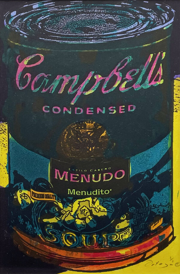 "Tony Ortega, ""Campbells Menudo"", Hand Colored Etching, 13.5"" x 16.5"""