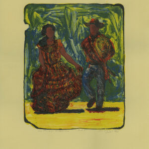 "Tony Ortega, ""Una Pareja Folklorica, tan"" Stone Lithography and Screenprint"