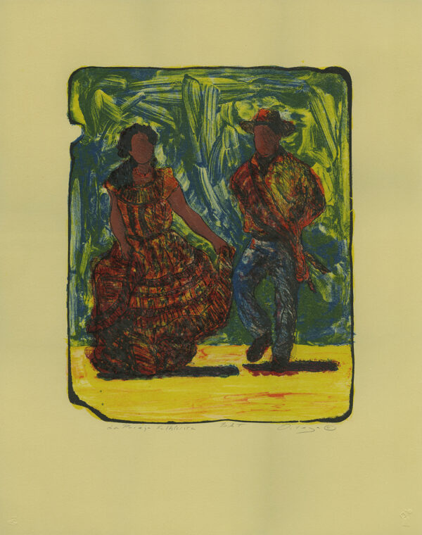 "Tony Ortega, ""Una Pareja Folklorica, tan"" Stone Lithography and Screenprint"