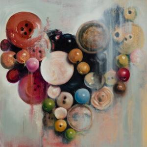 "Robin Schaefer, ""Button Heart"" Oil on Canvas, 24"" x 20"""