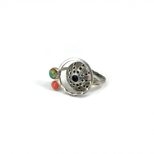 """Caitlin Zeller, """"Nesting Coral, ring, sterling silver with patina, lab-grown coral, & turquoise, size 6"""""""