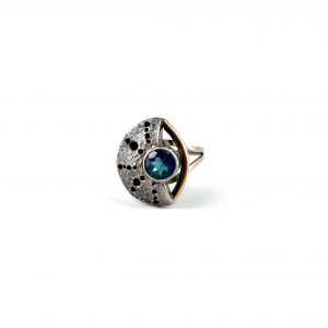 "Caitlin Zeller, ""Sargasso"", ring, sterling silver, gold fill, patina, & light blue topaz, size 6.25"